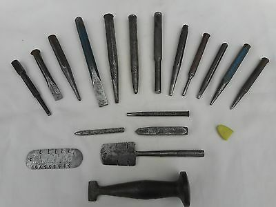 a set of 18 engineers various pin gauges / punches / chisles / forming tool .