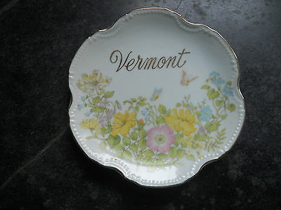 Vintage Porcelain Wall Plate From ''vermont''  Pretty Floral & Butterflies