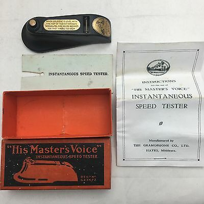 HMV Victor Instantaneous Speed Tester In Box Phonograph Victrola Gramophone RARE