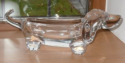 """Vintage Vannes le Chalet French Crystal Dachshund Dog 50's/60's - 10.5"""" long"""