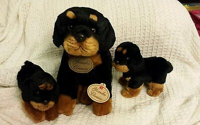 RUSS Yomiko Classics (and Fuzzy Town) plush Puppy Dog ROTTWEILER Lot of 3