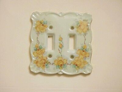 vntg FLORAL hand painted porcelain DOUBLE LIGHT SWITCH COVER -   artist signed