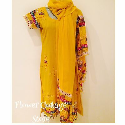 3 Piece Embellished Mustard Yellow Ethnic Fancy Dress Productions  Size 6/8
