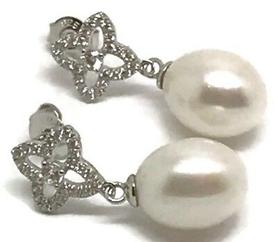 Freshwater Pearl Sparkly Drop Earrings Solid Sterling Silver, New,Stud Fitting
