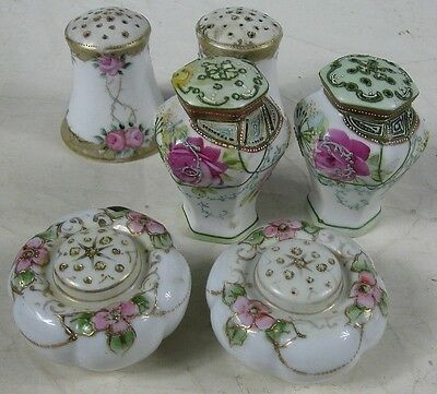 3 Pair of Antique 1930's Japan Salt & Peppers Fancy Overlay