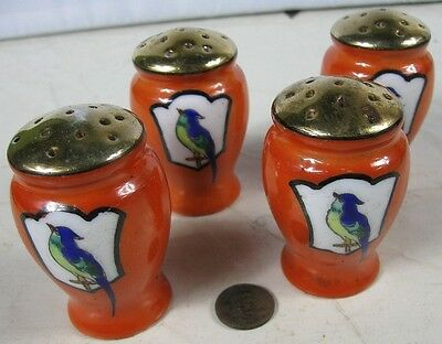 2 Pair of Vintage 1930's Japan Salt & Peppers Orange Gold With Parrot