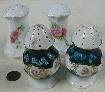 2 Pair of Antique 1910's Salt & Peppers Fancy With Roses
