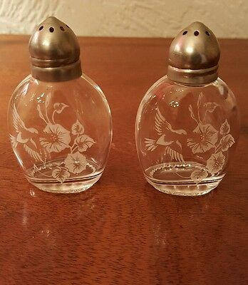 small vintage glass salt and pepper pots