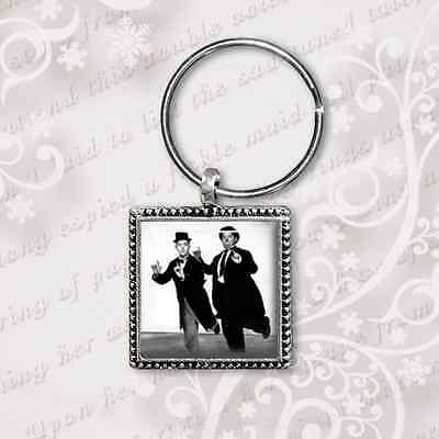 Laurel and Hardy Keyring Antique Silver Plated Keyring Unique Handmade in UK