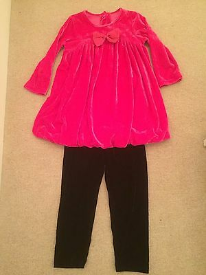 Age 6 Black and pink velvety party outfit - top and trousers