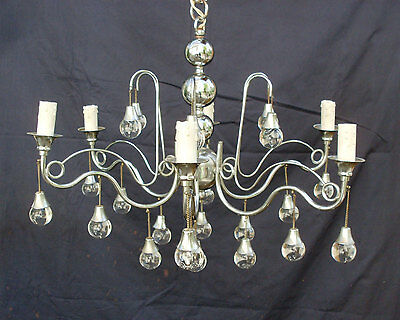 Vintage 6 Bulb Modern Chrome Italian Chandelier with Glass Transparent Spheres