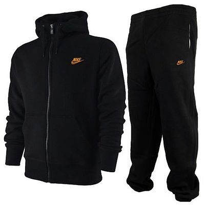 Nike Men's Black Full Zip Tracksuit Hoody and Joggers Size S-XL