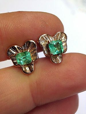 Sweet! Natural Colombian Emerald 14K Rose Gold Pansy Flower Earring Studs