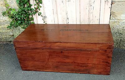 "Antique c.1900s Victorian Teak Military Campaign Trunk Zinc Lined ""MUNNINGS"""