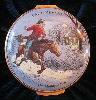 Halcyon Days Enamel Box ~ PAUL REVERE Midnight Ride ~ 1973 Limited Edition Award