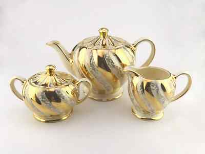 Stunning Gold and Cream Sadler Teapot with Cream and Sugar