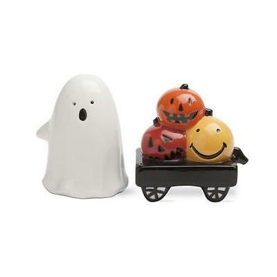 Ghost and Pumpkin Salt and Pepper Shaker Set- Set of 2- Giftboxed Earthenware