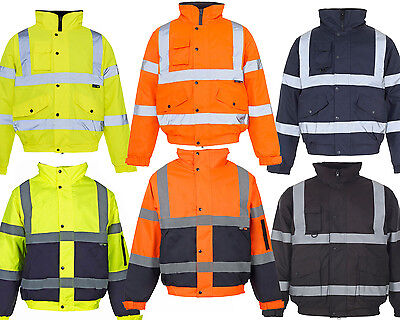 *Premium* Hi Viz Vis Visibility Contractor Safety Bomber Jacket Coat Waterproof
