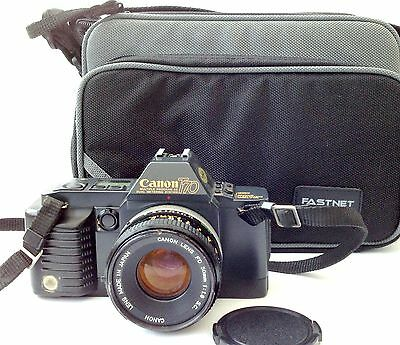 Canon T70 35mm SLR Film Camera with 1.8/50mm lens & bag