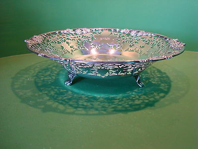 Large Solid Silver Scroll Footed Dish By Cooper Bros & Sons Sheffield 1965