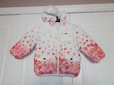 Girls Zara hooded puffa jacket coat floral garden print size 2-3 years