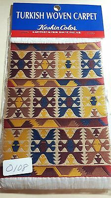 """1:12 6"""" x 4"""" WOVEN TURKISH RUG MINIATURE DOLL HOUSE CARPET NEW IN PACKAGE"""