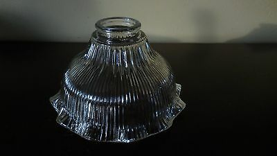 """Vintage Ribbed Ruffled Clear Glass Light Shade  2 1/8"""" Fitter 7"""" wide"""