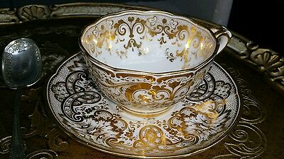 Thomas Pearce & Son 19C Split Handle Footed Heavily Gilded Cup & Saucer antique