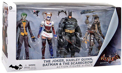 DC Arkham Asylum Joker Harley Batman Scarecrow 4 Action Figures Pack UK Seller
