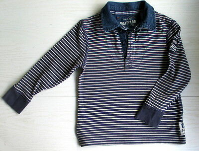 BOYS KIDS NAVY BOAT STRIPED TOP POLO SHIRT 4-5 YEARS/ 108 cm - OKAIDI .