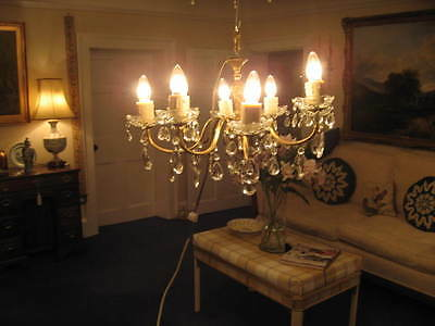 Large Vintage 8 Branch Chandelier Glass & Brass With Lots Of Crystal Drops /3823