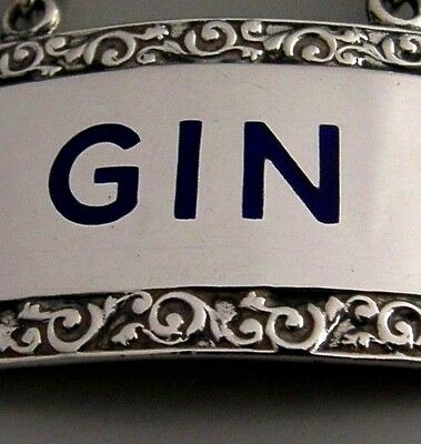 Beautiful Sterling Silver And Blue Enamel Gin Wine Label 1957