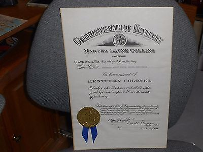 Kentucky Governor Certificate To Robert Horton  As Honorary Citizen State Seal