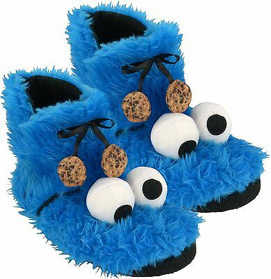 Sesame Street Cookie Monster Plush Slippers Booties 0122031?Size 39/40