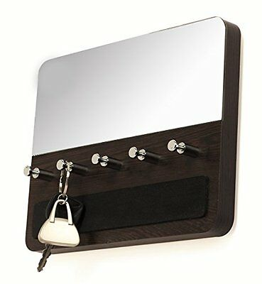 Bluewud Spiegel Wall Key Chain Holder Rack with Decorative Mirror (Wenge, 5