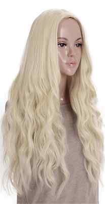 Kalyss Women's Long Curly Wavy Heat Resistant Synthetic Blonde Hair Wig