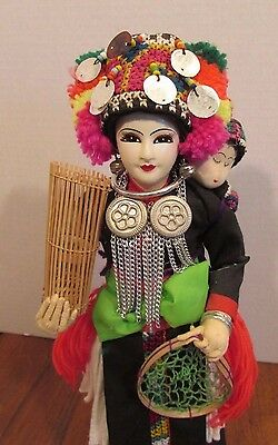 """Amazing 12"""" Mother & Child Handcrafted Hilltribe Doll Thai Payap #581 HMONG WHT"""