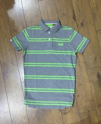 New Superdry Twin Stripe Polo T-Shirt Dark Marl T Shirt Top Designer Mens Grey