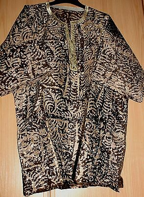New Unique West African embroidered top batik tye dye~ Mens~Various mix