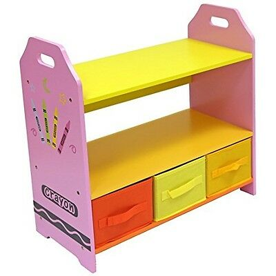 Bebe Style Wooden Shelves with 3 Storage Boxes for Kids Bedroom Furniture, Pink