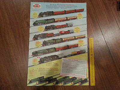 VINTAGE HORNBY DUBLO foldable Product Catalogue poster Colour 2 sided 1958 RARE!