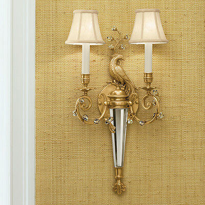 Antiqued Brass & Solid Crystal Peacock 2 Lights/Shades Electric Sconce,23.1/4''H