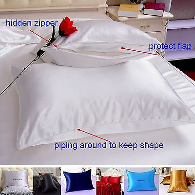1pc 22 Momme 100% Pure Mulberry Silk Pillow Cases Cushion Covers Zipper Closure