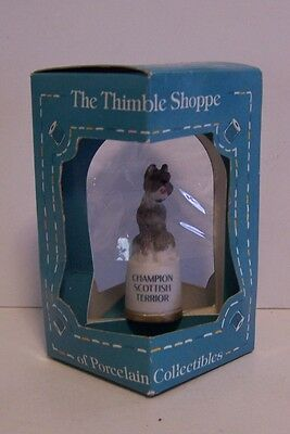 Scottish Terrier Scotty Dog Thimble Porcelain Sewing  Enesco Puppy Terrior