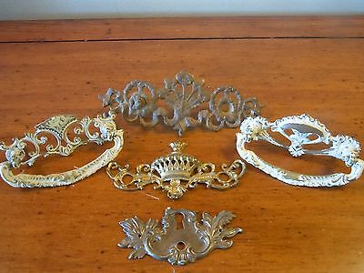 Antique Ornate Metal Drawer Pulls/ Keyhole Plate