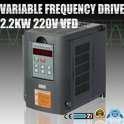 3HP 2.2KW Variable Frequency Drive VFD 3 Phase Single Speed Capability VSD 2200W