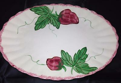 Blue Ridge Pottery Berryville Strawberries Hand Painted Oval Serving Platter