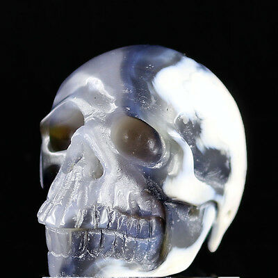 """2.33"""" BRAZIL CRYSTAL AGATE Carved Crystal Skull, Realistic,Crystal Healing AB40"""