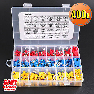 400 pc Assorted Insulated Electrical Wire Terminal Crimp Spade Connector Kit Box