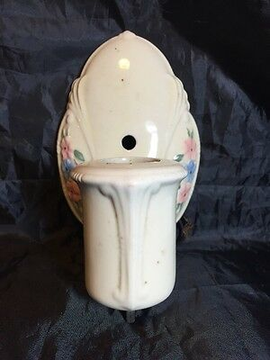 Vintage Porcelain Wall Light Sconce Ivory w/ Hand Painted Flowers Needs Rewiring